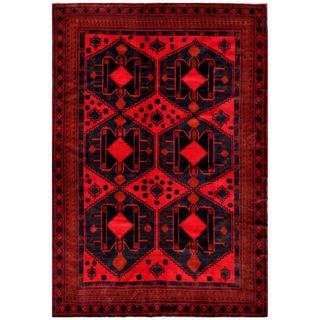 Afghan Hand-knotted Tribal Balouchi Red/ Navy Wool Rug (7' x 10'1)
