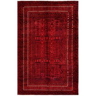 Afghan Hand-knotted Tribal Balouchi Red/ Rust Wool Rug (6'6 x 10'1)