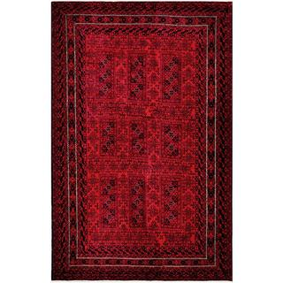 Afghan Hand-knotted Tribal Balouchi Red/ Charcoal Wool Rug (5'9 x 8'11)