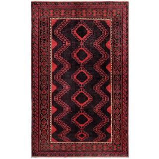 Afghan Hand-knotted Tribal Balouchi Navy/ Rose Wool Rug (5'8 x 9'2)