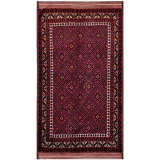 Afghan Hand-knotted Tribal Balouchi Purple/ RedWool Rug (5'1 x 9'4)