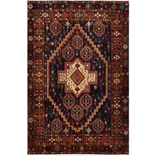 Afghan Hand-knotted Tribal Balouchi Navy/ Brown Wool Rug (5'10 x 8'9)