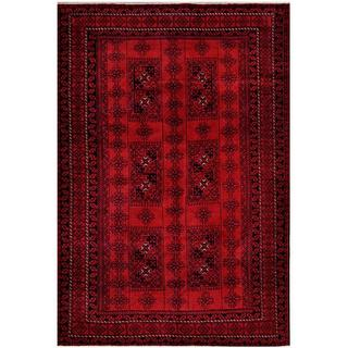 Afghan Hand-knotted Tribal Balouchi Rust/ Charcoal Wool Rug (6'4 x 9'3)