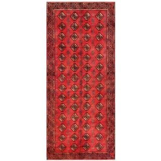 Afghan Hand-knotted Tribal Balouchi Red/ Tan Wool Rug (4' x 9'5)