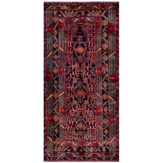 Afghan Hand-knotted Tribal Balouchi Navy/ Red Wool Rug (4'5 x 9'4)