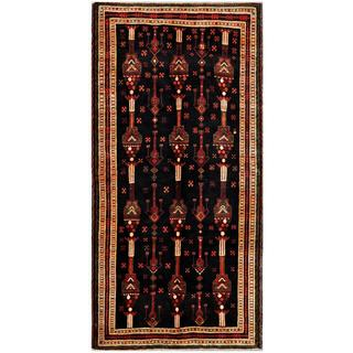 Afghan Hand-knotted Tribal Balouchi Black/ Tan Wool Rug (4'5 x 9'2)