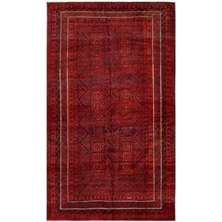 Afghan Hand-knotted Tribal Balouchi Rust/ Navy Wool Rug (5'6 x 9'5)