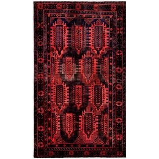 Afghan Hand-knotted Tribal Balouchi Red/ Black Wool Rug (5'6 x 9'2)