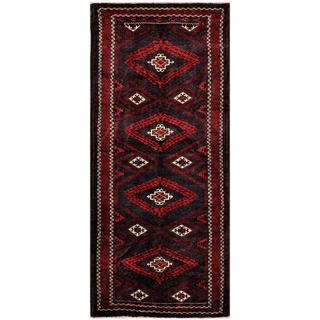 Afghan Hand-knotted Tribal Balouchi Navy/ Red Wool Rug (4'1 x 9'4)