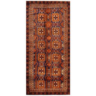 Afghan Hand-knotted Tribal Balouchi Brown/ Navy Wool Rug (5'5 x 11'9)