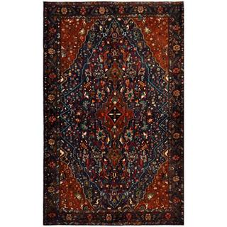 Afghan Hand-knotted Tribal Balouchi Navy/ Brown Wool Rug (5'6 x 8'8)