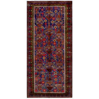 Afghan Hand-knotted Tribal Balouchi Navy/ Olive Wool Rug (4'8 x 10'2)