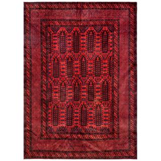 Afghan Hand-knotted Tribal Balouchi Red/ Black Wool Rug (7' x 9'9)