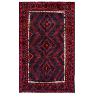 Afghan Hand-knotted Tribal Balouchi Navy/ Red Wool Rug (6'3 x 9'5)