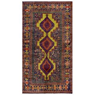 Afghan Hand-knotted Tribal Balouchi Lime Green/ Tan Wool Rug (5'2 x 9'5)