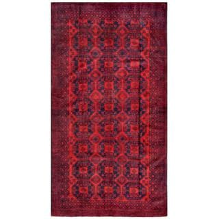Afghan Hand-knotted Tribal Balouchi Red/ Navy Wool Rug (5'4 x 9'11)
