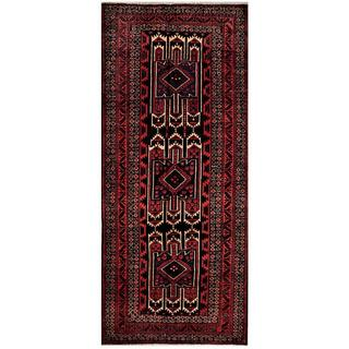 Afghan Hand-knotted Tribal Balouchi Black/ Red Wool Rug (4'1 x 9'5)