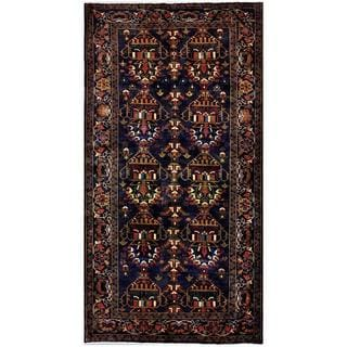 Herat Oriental Afghan Hand-knotted Tribal Balouchi Navy/ Ivory Wool Rug (4'8 x 8'11)