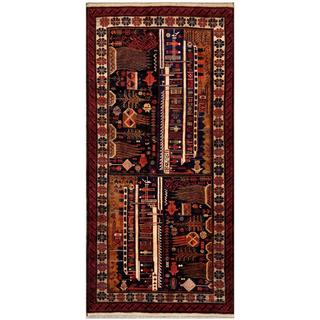 Afghan Hand-knotted Tribal Balouchi Black/ Red Wool Rug (4'3 x 9'2)