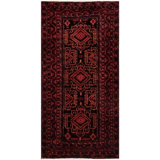 Afghan Hand-knotted Tribal Balouchi Black/ Red Wool Rug (4'1 x 8'4)
