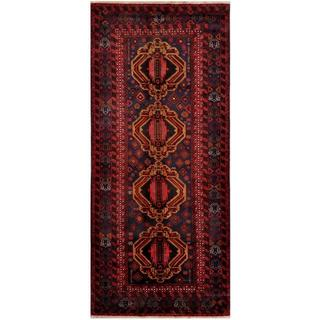 Afghan Hand-knotted Tribal Balouchi Grey/ Red Wool Rug (4'10 x 10'10)