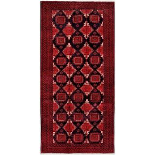 Herat Oriental Afghan Hand-knotted Tribal Balouchi Red/ Black Wool Rug (4' x 8'3)