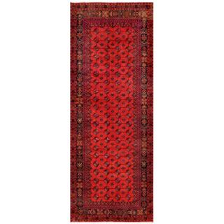 Afghan Hand-knotted Tribal Balouchi Red/ Navy Wool Rug (4'8 x 12')