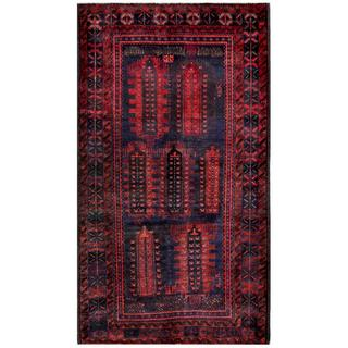 Afghan Hand-knotted Tribal Balouchi Navy/ Red Wool Rug (4'8 x 8'4)