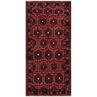 Afghan Hand-knotted Tribal Balouchi Red/ Navy Wool Rug (4'1 x 8'6)