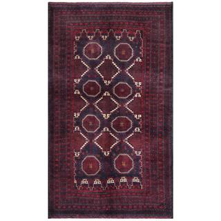 Afghan Hand-knotted Tribal Balouchi Blue/ Red Wool Rug (5'2 x 8'10)