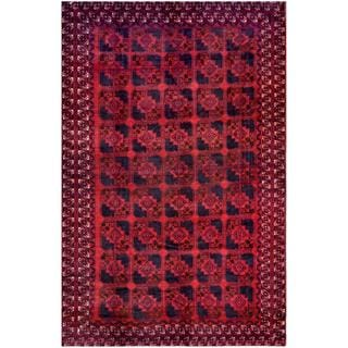 Afghan Hand-knotted Tribal Balouchi Red/ Navy Wool Rug (7'5 x 11'4)