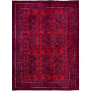 Afghan Hand-knotted Tribal Balouchi Red/ Blue Wool Rug (6'10 x 9'1)