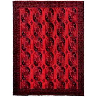 Afghan Hand-knotted Tribal Balouchi Red/ Black Wool Rug (7'6 x 10'3)