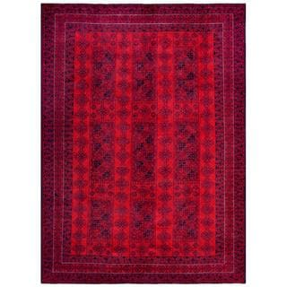 Afghan Hand-knotted Tribal Balouchi Red/ Blue Wool Rug (7'2 x 9'8)