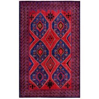 Afghan Hand-knotted Tribal Balouchi Red/ Blue Wool Rug (7'5 x 11'10)