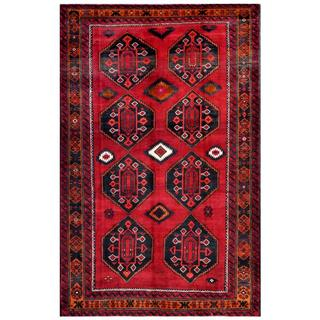 Herat Oriental Afghan Hand-knotted Tribal Balouchi Red/ Grey Wool Rug (6'6 x 10'2)
