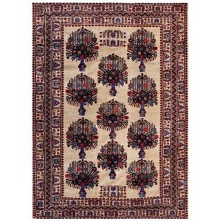Afghan Hand-knotted Tribal Balouchi Ivory/ Maroon Wool Rug (7' x 9'7)