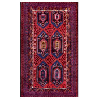 Afghan Hand-knotted Tribal Balouchi Red/ Blue Wool Rug (6'9 x 11')