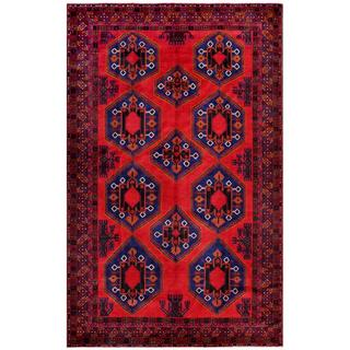 Afghan Hand-knotted Tribal Balouchi Red/ Blue Wool Rug (7' x 10'11)