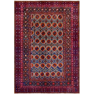 Afghan Hand-knotted Tribal Balouchi Blue/ Red Wool Rug (6'10 x 9'7)
