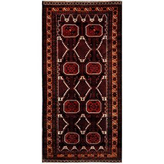 Afghan Hand-knotted Tribal Balouchi Black/ Red Wool Rug (4'1 x 8'5)