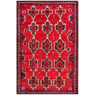 Afghan Hand-knotted Tribal Balouchi Red/ Navy Wool Rug (6'5 x 9'9)