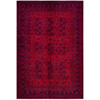 Herat Oriental Afghan Hand-knotted Tribal Balouchi Red/ Navy Wool Rug (6'5 x 9'3)