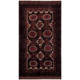Herat Oriental Afghan Hand-knotted Tribal Balouchi Grey/ Maroon Wool Rug (4'9 x 8'11)