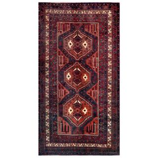 Afghan Hand-knotted Tribal Balouchi Rust/ Navy Wool Rug (4'9 x 8'9)