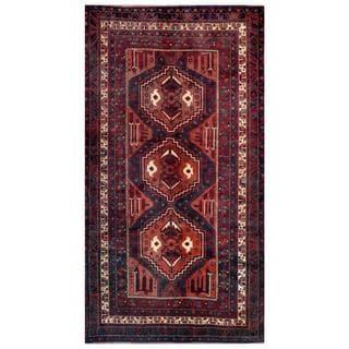 Herat Oriental Afghan Hand-knotted Tribal Balouchi Rust/ Navy Wool Rug (4'9 x 8'9)