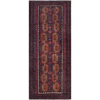 Afghan Hand-knotted Tribal Balouchi Navy/ Grey Wool Rug (4'3 x 10')