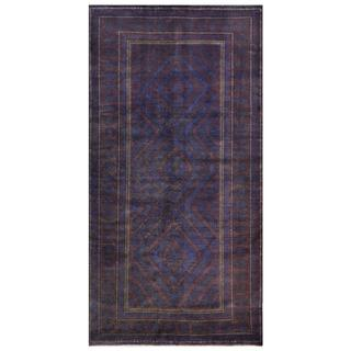 Afghan Hand-knotted Tribal Balouchi Blue/ Purple Wool Rug (4'8 x 9'3)