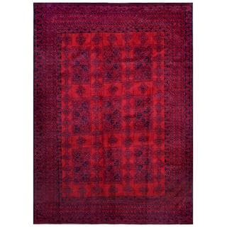 Afghan Hand-knotted Tribal Balouchi Red/ Navy Wool Rug (6'5 x 8'11)