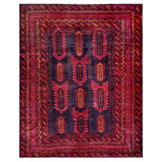 Afghan Hand-knotted Tribal Balouchi Red/ Navy Wool Rug (9'4 x 11'10)